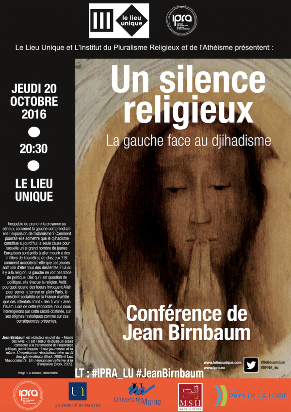 Jean Birnbaum invité de l'IPRA et du Lieu Unique